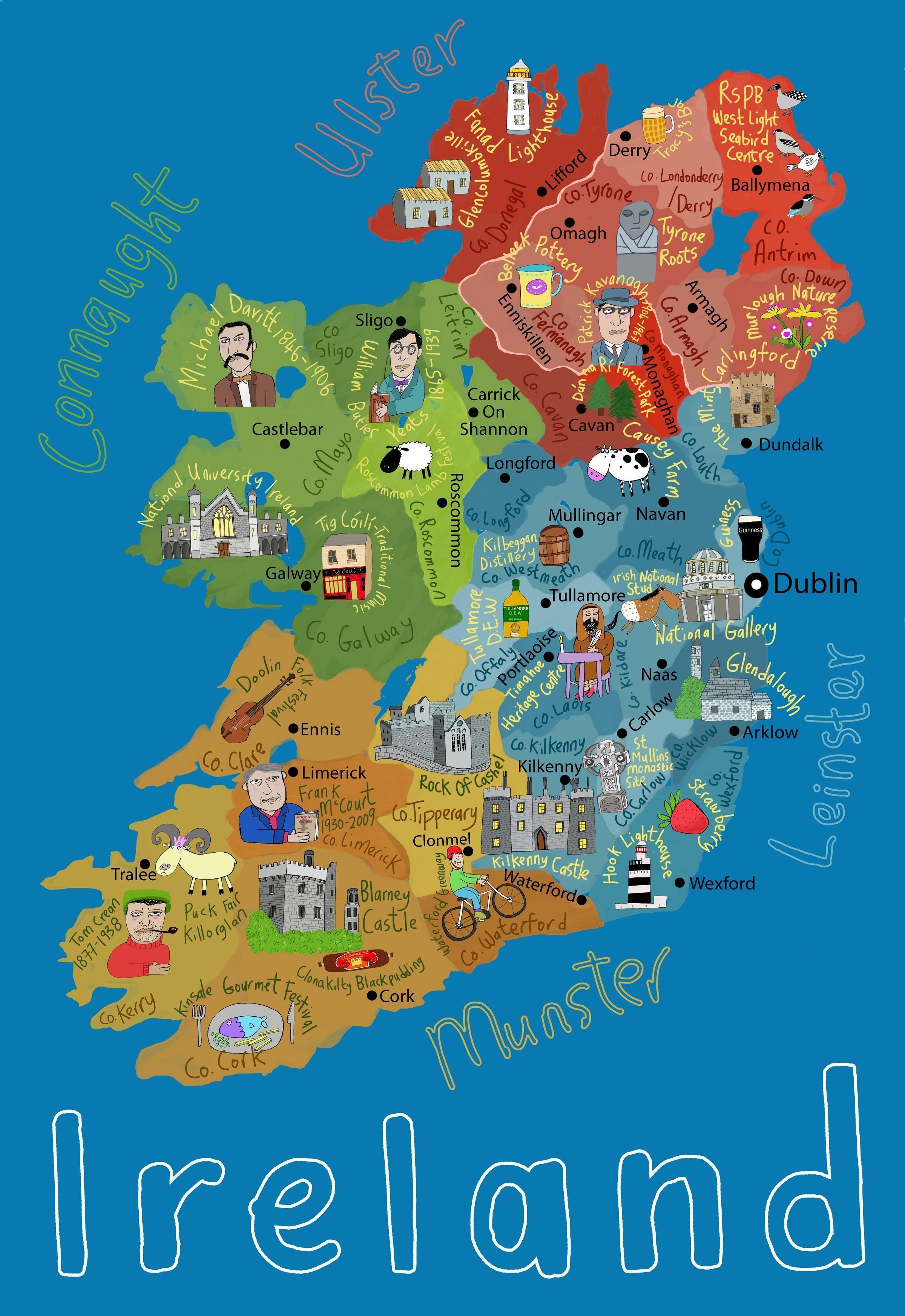 Childrens carte de l'irlande - Carte de l'irlande pour les ...