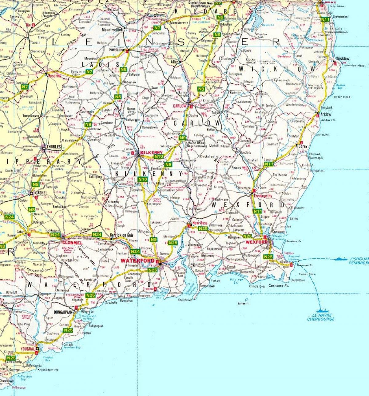 Carte Europe Du Sud Est.Est De L Irlande Carte Carte Du Sud Est De L Irlande Europe Du